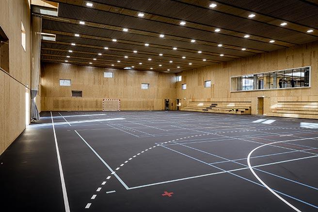 Reference-billede af den nye idrætshal på EnergiCenter Voldparken